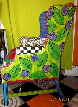 Handpainted Upcycled Furniture....interesting how much this looks like a felted chair I made several years ago.