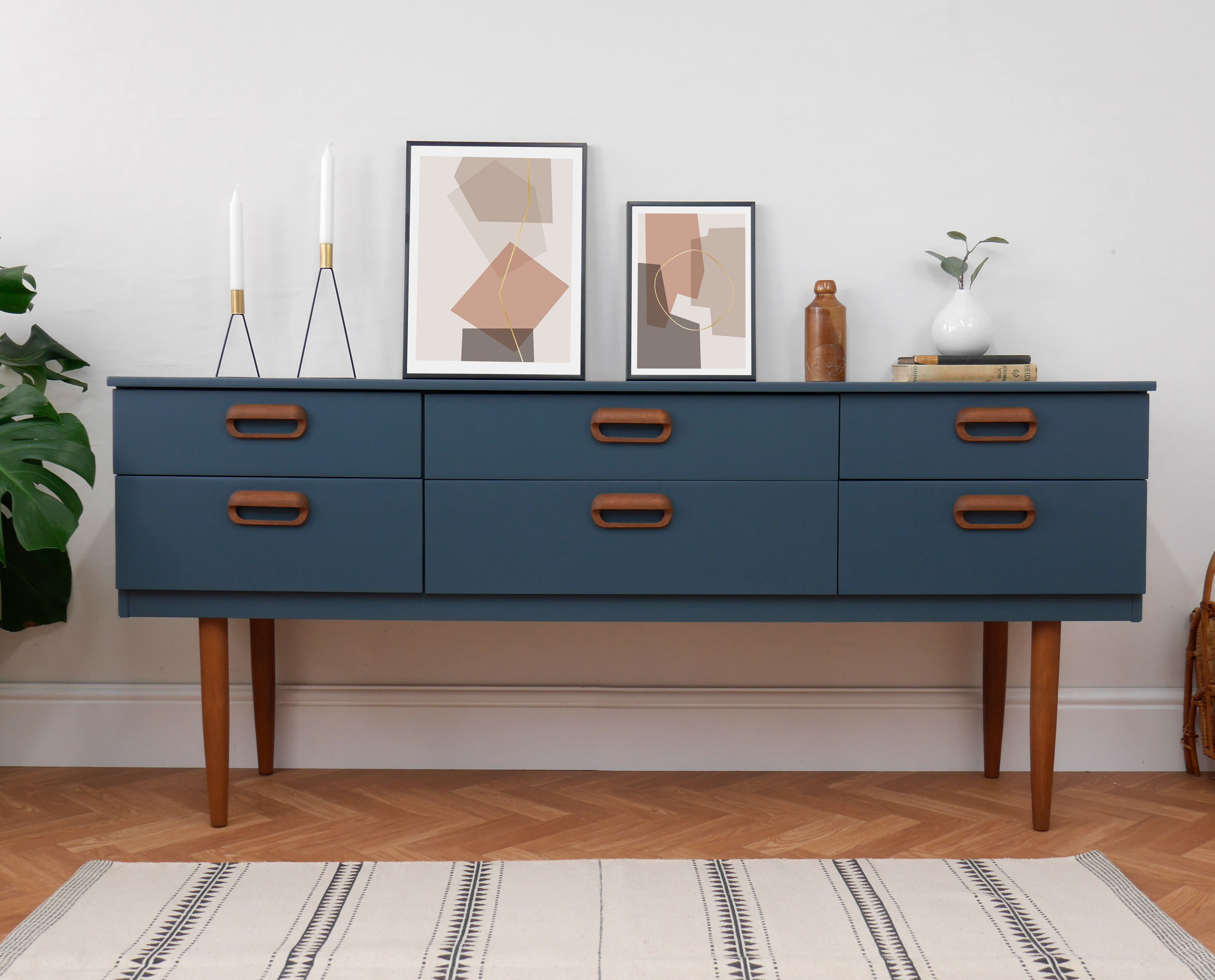 Mid Century Sideboard Chest Of Drawers Media Tv Unit Painted Navy Blue Teak Tv Unit Unique Mid Century In 2020 Mid Century Sideboard Retro Sideboard G Plan Sideboard