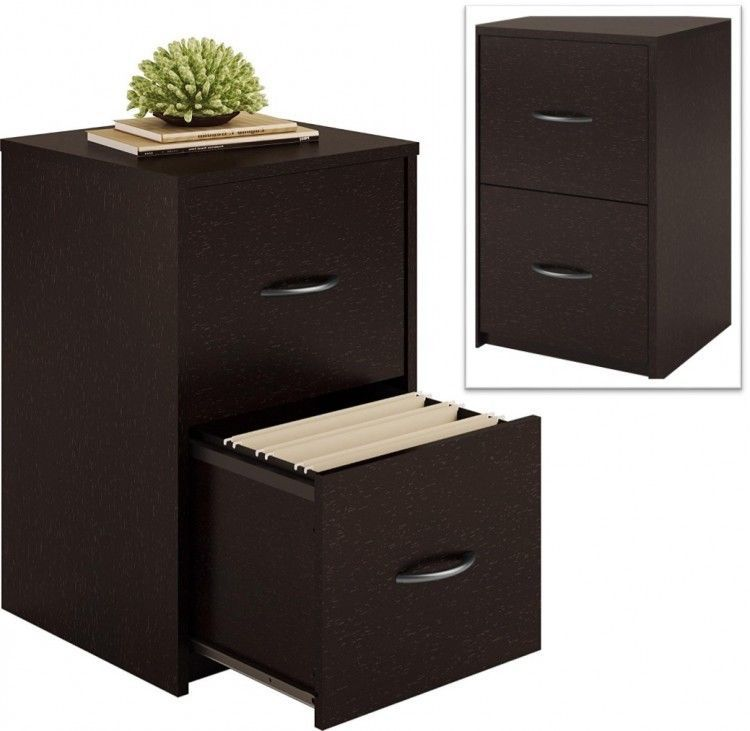 2 Drawer Wood File Cabinet Dark Brown Hanging Files Office Organizer  Furniture