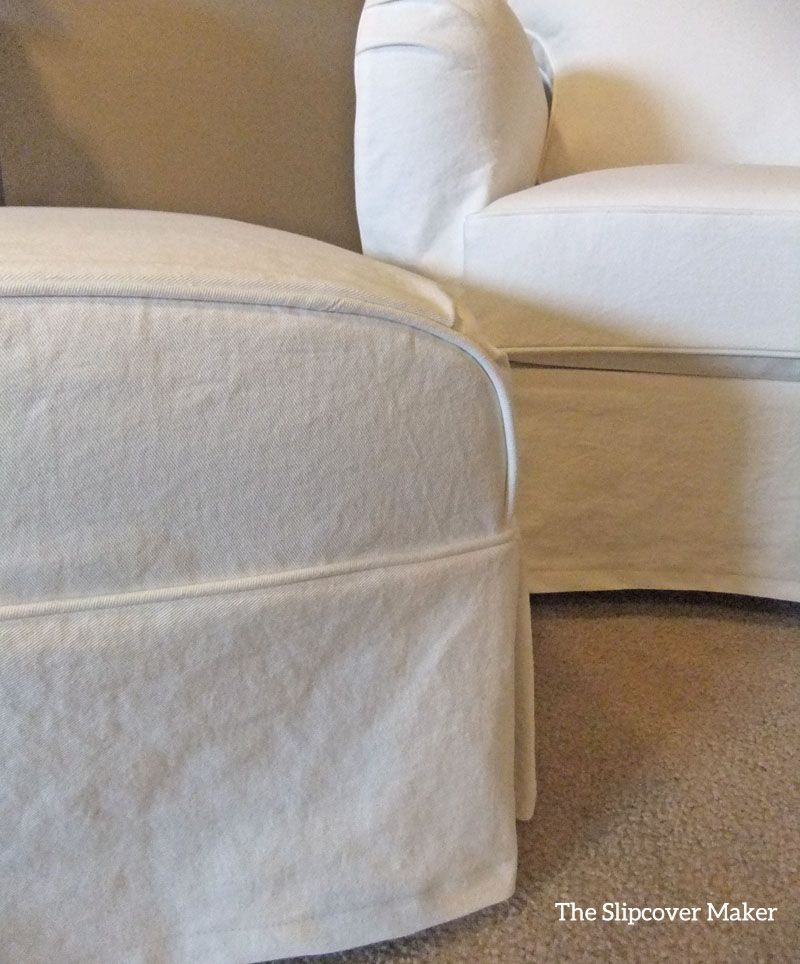 white slipcover chair and ottoman wedding covers devon denim cottage style peggy s slipcovers customer made in heavyweight washed