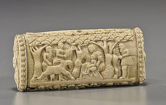 Rare Antique Carved Bone Snuff Box Bone Carving Rare Antique Carving