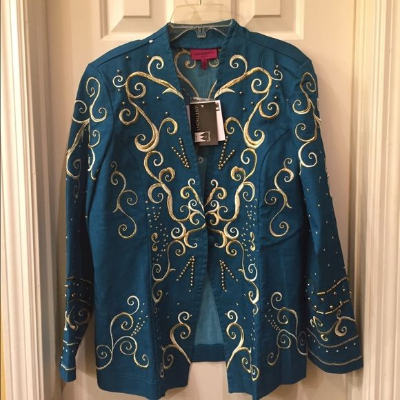 Anttony NWT embroidered jacket size 8 NWT lightweight jacket has all over embroidered detail Jacket has a 1 button front closure Size 8 retail tags attached no flaws Anttony Jackets & Coats Jean Jackets
