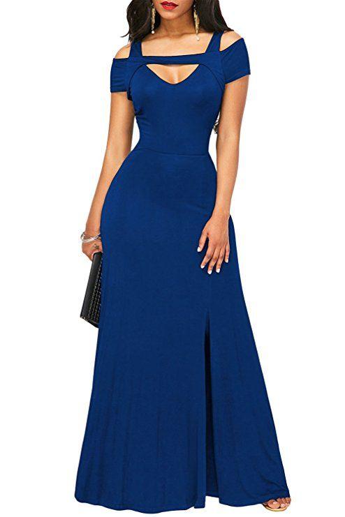 Bodenlanges Abendkleid mit raffiniertem V-Ausschnitt ...