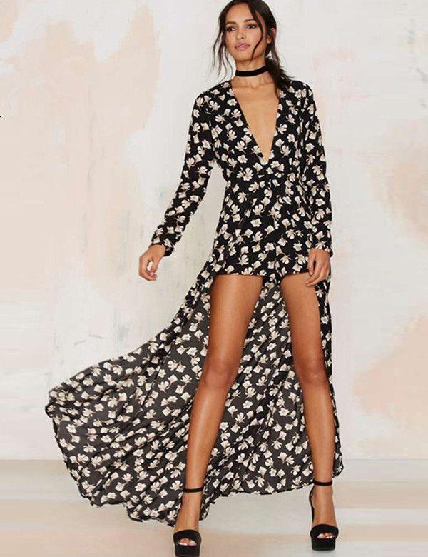 95b3a0851f9 Spring and summer sexy Deep V Retro Swallowtail Connected shorts Chiffon  Dress