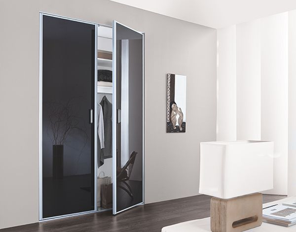 KAZED - portes de placard pliantes verre laqué Anthracite Chambre - kit pour porte coulissante placard