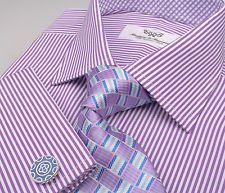 Sexy Purple Stripe Checkered Mens Formal Business Dress Shirt French Boss Cuff   eBay