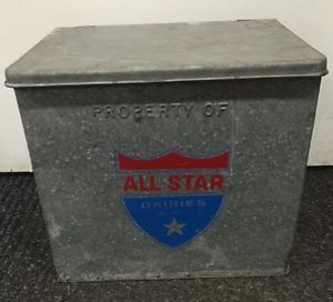 Vintage All Star Dairies Galvanized Metal Insulated Milk Box Ebay Containers For Sale Milk Box Ebay