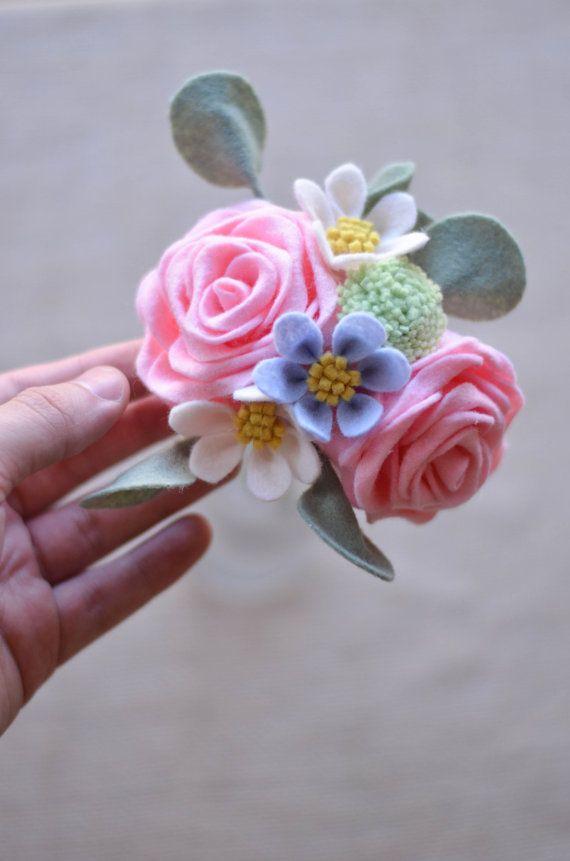 rose billy button wildflower eucalyptus felt flower bouquet pink blue and green. Black Bedroom Furniture Sets. Home Design Ideas