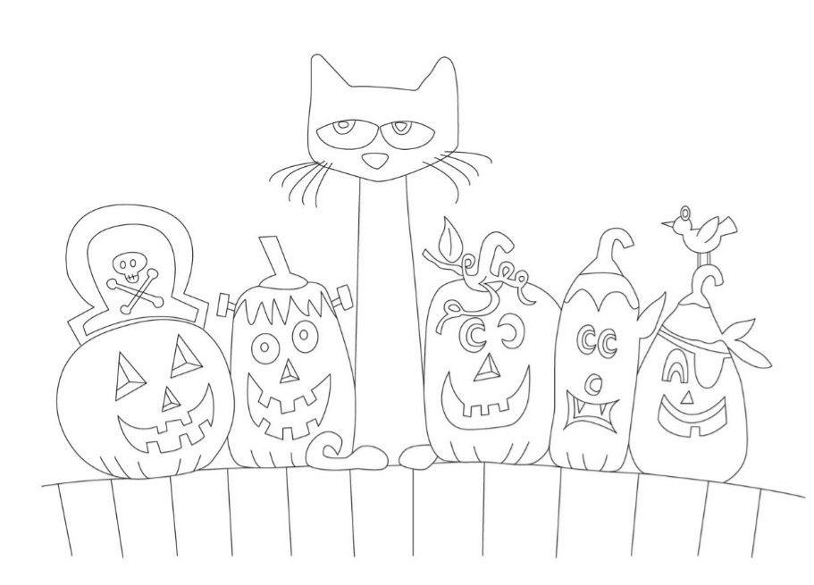Pete The Cat Five Little Pumpkins Color Page Halloween Cat Coloring Page Pete The Cat Pumpkin Coloring Pages