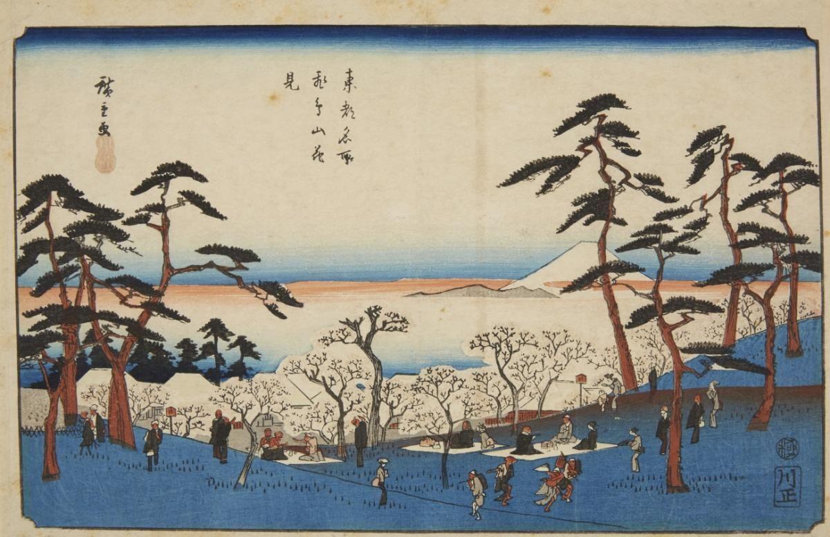 Utagawa Hiroshige (1797-1858)  a) Ôban, yoko-e. Series: Tôto meisho. Title: Asukayama hanami. Picnic. Signed: Hiroshige ga. Seal. Kawaguchiya Shôzô. Censor: kiwame. 1840-1842. b) Three smaller format prints, with images of famous places. Signed: Hiroshige ga. (4) Good impressions, a) good colours, slightly creased and soiled, few brown spots, mounted in mat, b) somewhat browned, traces of usage.