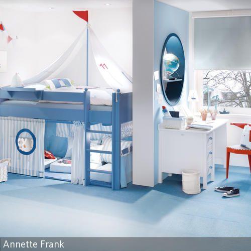 Exklusives Komplett Umbaubares Kinderbett Segelboot In Blau Im