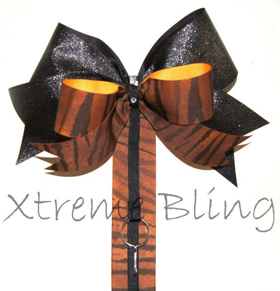 Brown Zebra Cheer Bow/Bow Holder by XtremeBling on Etsy, $21.00
