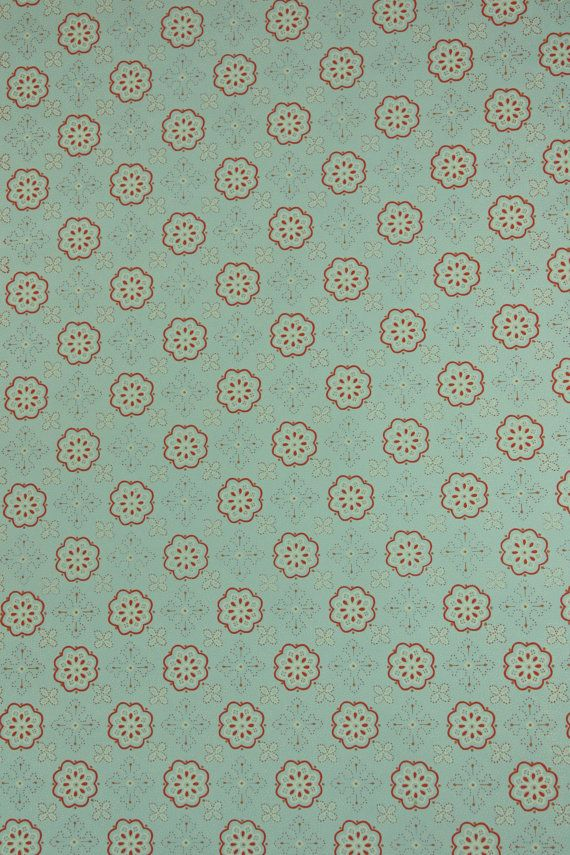 1950's Vintage Wallpaper - Geometric Wallpaper with Blue and Pink Design on Etsy, $16.00