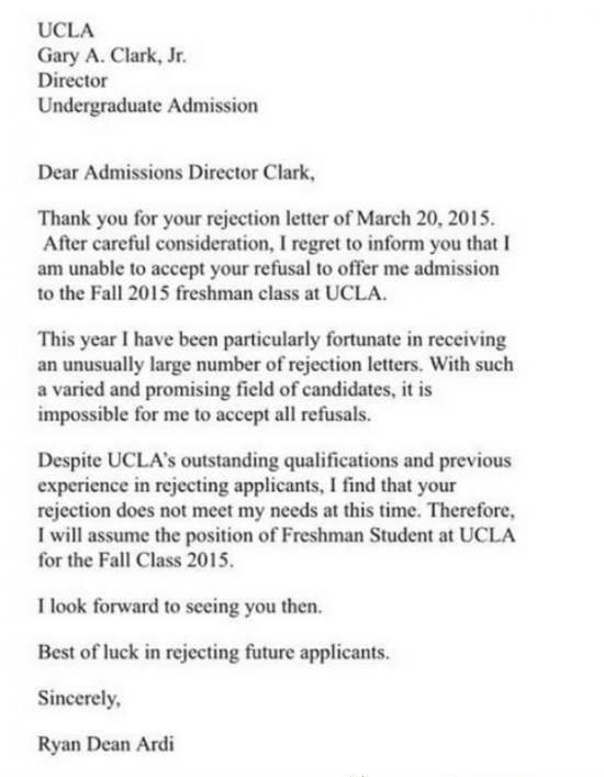 Thank you for your rejectionu0027 letter to UCLA director - rejection letter