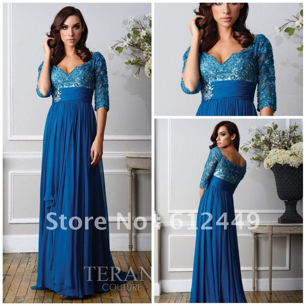 Elegance blue lace short sleeve floor length chiffon prom dress prom