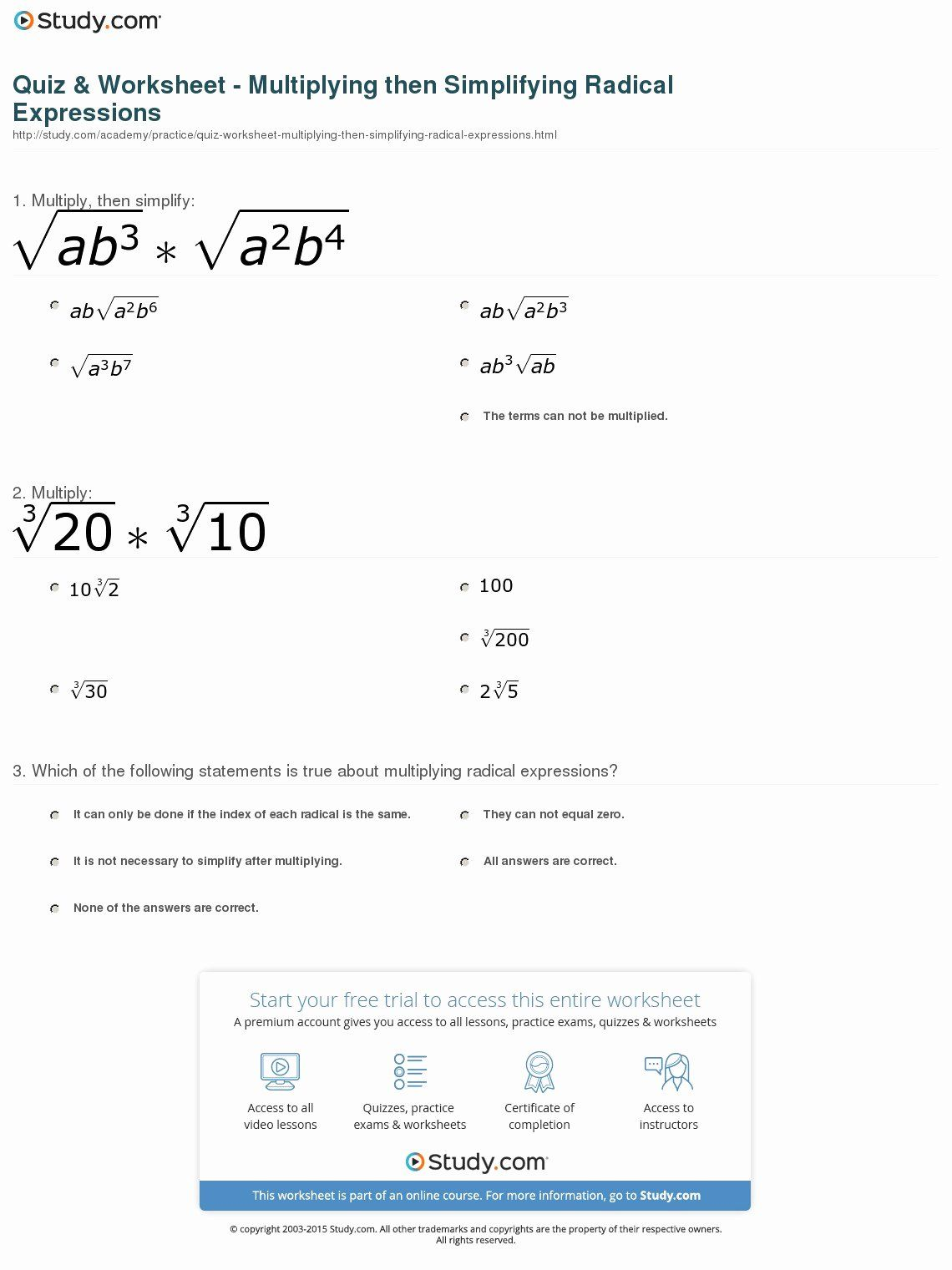 50 Multiply Radical Expressions Worksheet In With