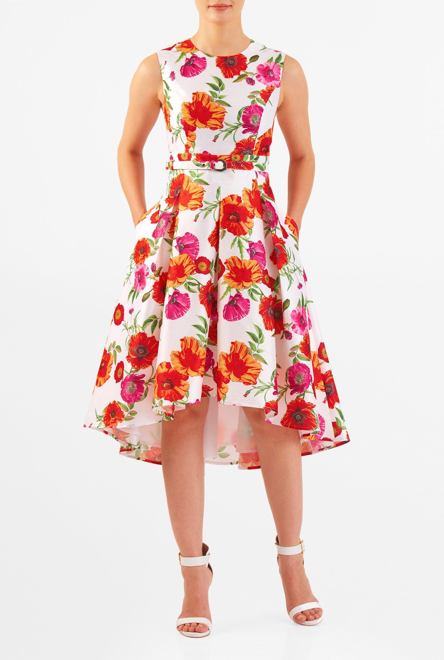 High Low Hem Floral Print Dupioni Belted Dress Floral Dresses Uk Floral Print Midi Dress Occasion Maxi Dresses