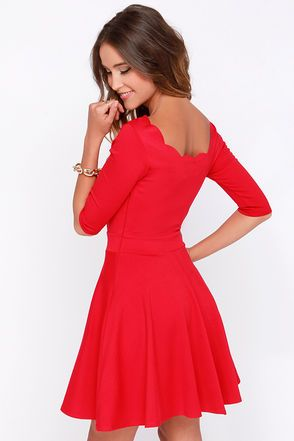 bcc7240dea7 I m scared to wear red dress...don t have much red in my closet. Cute Red  Dress - Scalloped Dress - Skater ...
