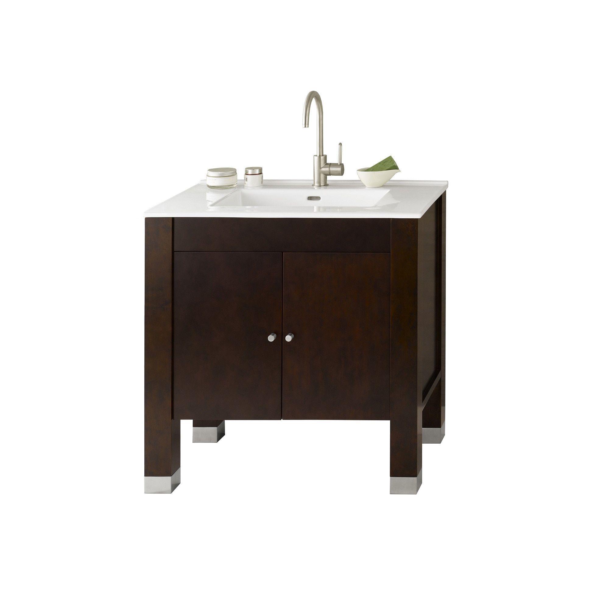 Ronbow Devon 31-inch Bathroom Vanity Set In Vintage Walnut With Ceramic  Bathroom Sink Top