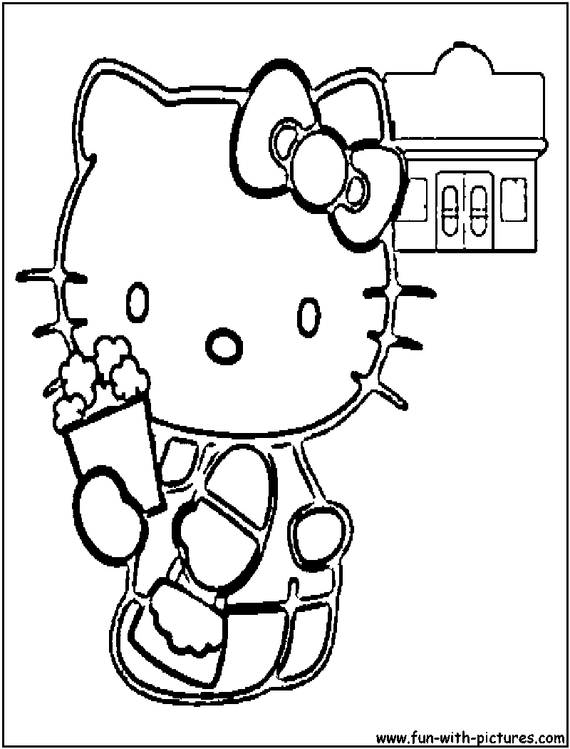 Hellokitty Popcorn Coloring Page Colored Popcorn Hello Kitty Hello Kitty Colouring Pages