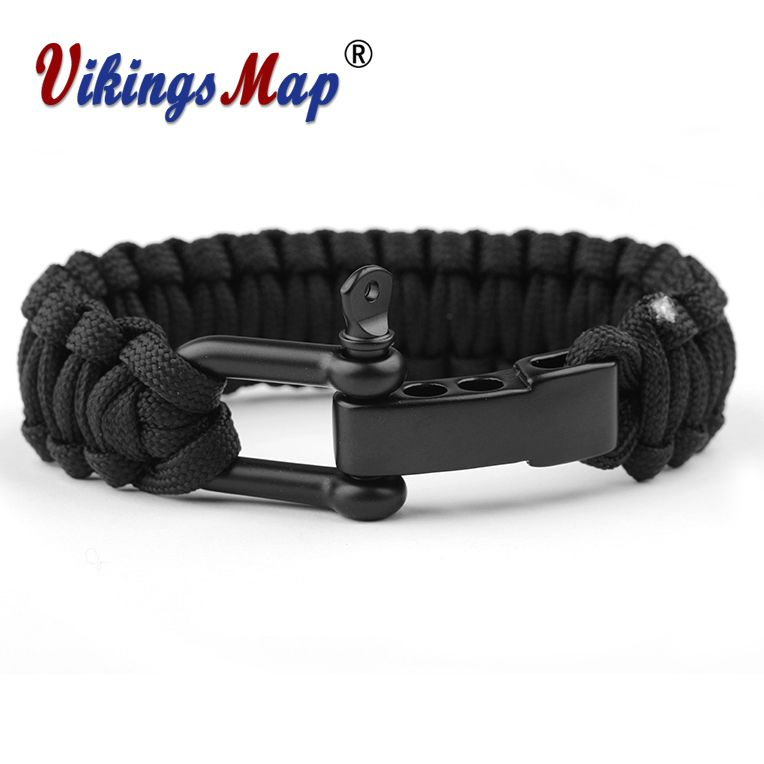 Outdoor Military Survival U Shap Steel Buckle Parachute Cord Rope Bracelet Woven