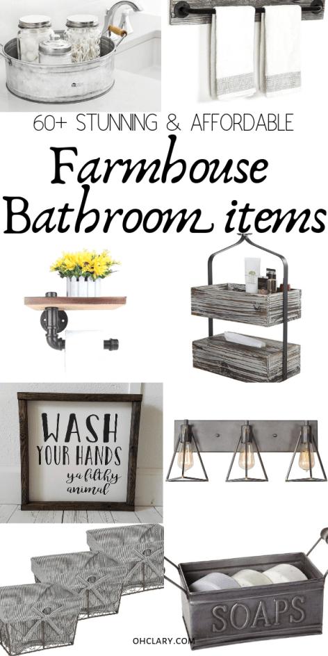 Farmhouse Bathroom Decor The Ultimate List Of 60 Affordable Farmhouse Bathroom Ideas Farmhouse Bathroom Accessories Cottage Style Bathrooms Vintage Farmhouse Decor