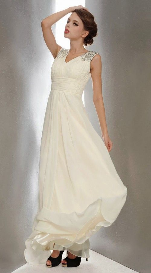 White Chiffon Shoulder Embroidered Designer Prom Dress 3FD4062445 ...
