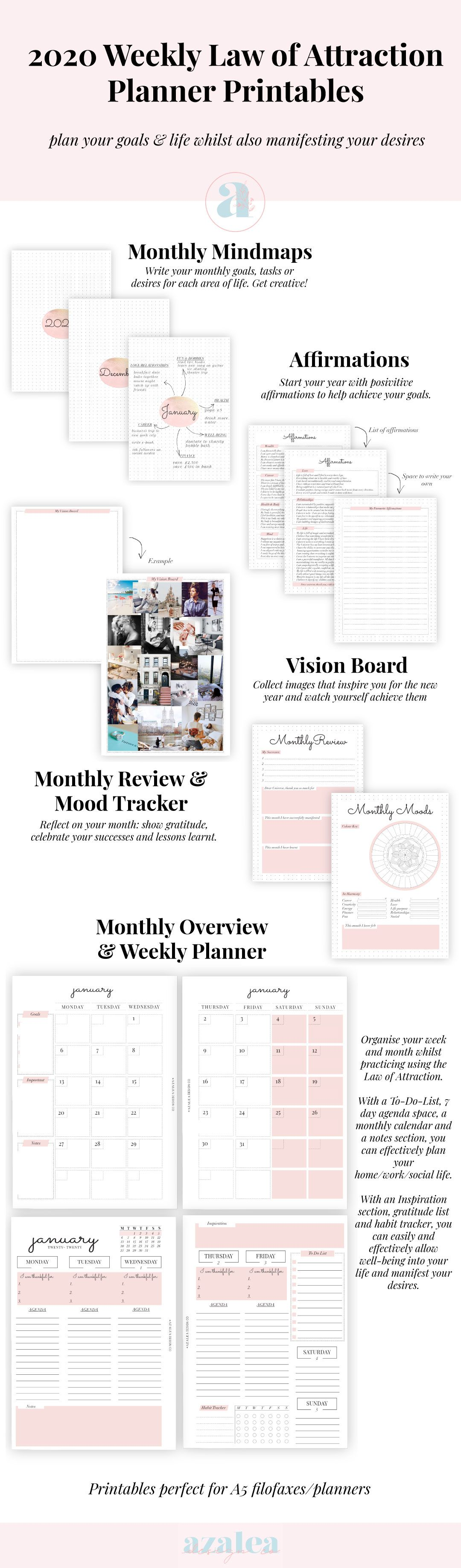 Law Of Attraction Weekly Planner Printable Pack