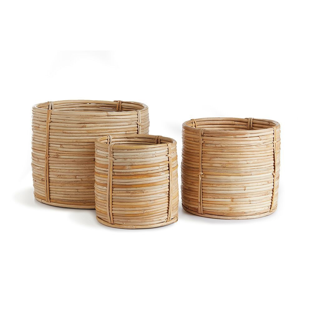 Cane Rattan Mini Round Baskets Set Of 3 In 2021 Cane Baskets Rattan Basket Basket Sets