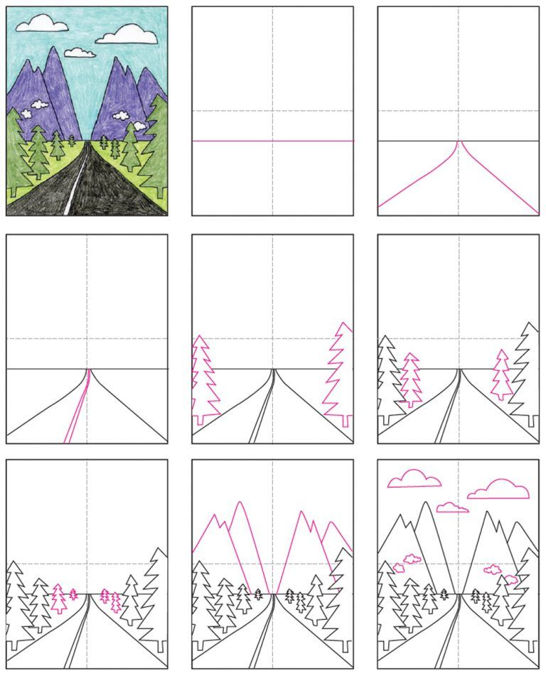 How to Draw a Perspective Landscape · Art Projects for Kids | Perspective art, Art lessons for kids, Kids art projects
