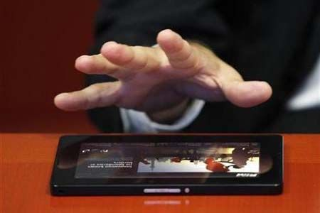 Researchers at Nagoya Institute of Technology developed an array of nearly 400 individually controlled ultrasonic speakers connected to a touch screen. The input coming out of the speakers can be felt as a single point pushing on the skin. As a result, when one person writes a message or draws a pattern on the touch screen, a second person can feel it by holding up a palm to the array.