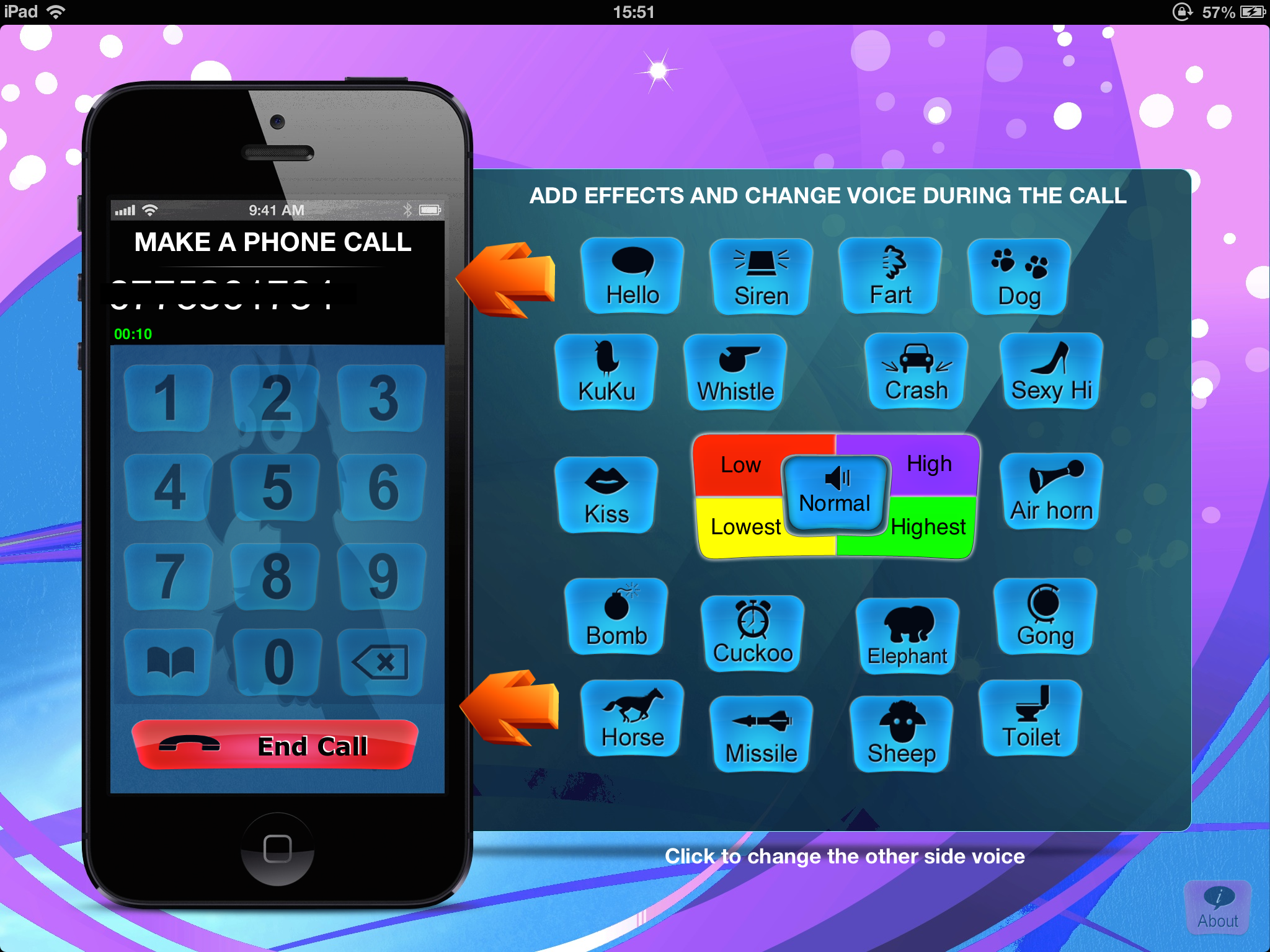 Call Voice Changer main screen for the iPad version  From