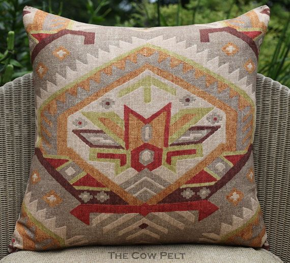 Handmade Aztec Pillow Multicolor Red Green Taupe Orange Brown