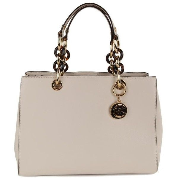 207306bf3140 Michael Kors Women s Cynthia Vanilla Cream Leather Satchel Bag ( 445) ❤  liked on Polyvore