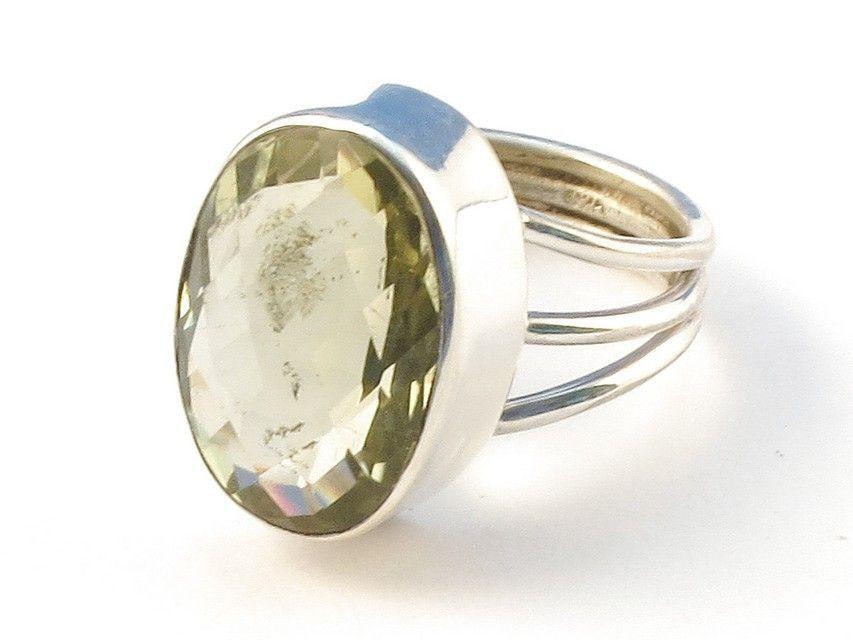 Design 113179 Original Oval Lemon Quartz .925 Sterling Silver Jewelry Ring Size 7