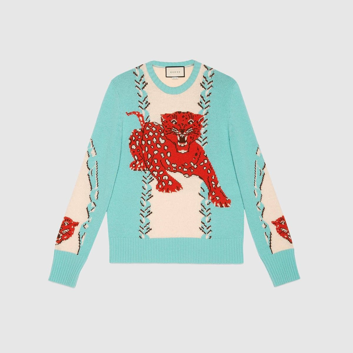 58323bd64 GUCCI Leopard Intarsia Wool Crew Neck Sweater - Light Blue And White Wool. # gucci #cloth #all