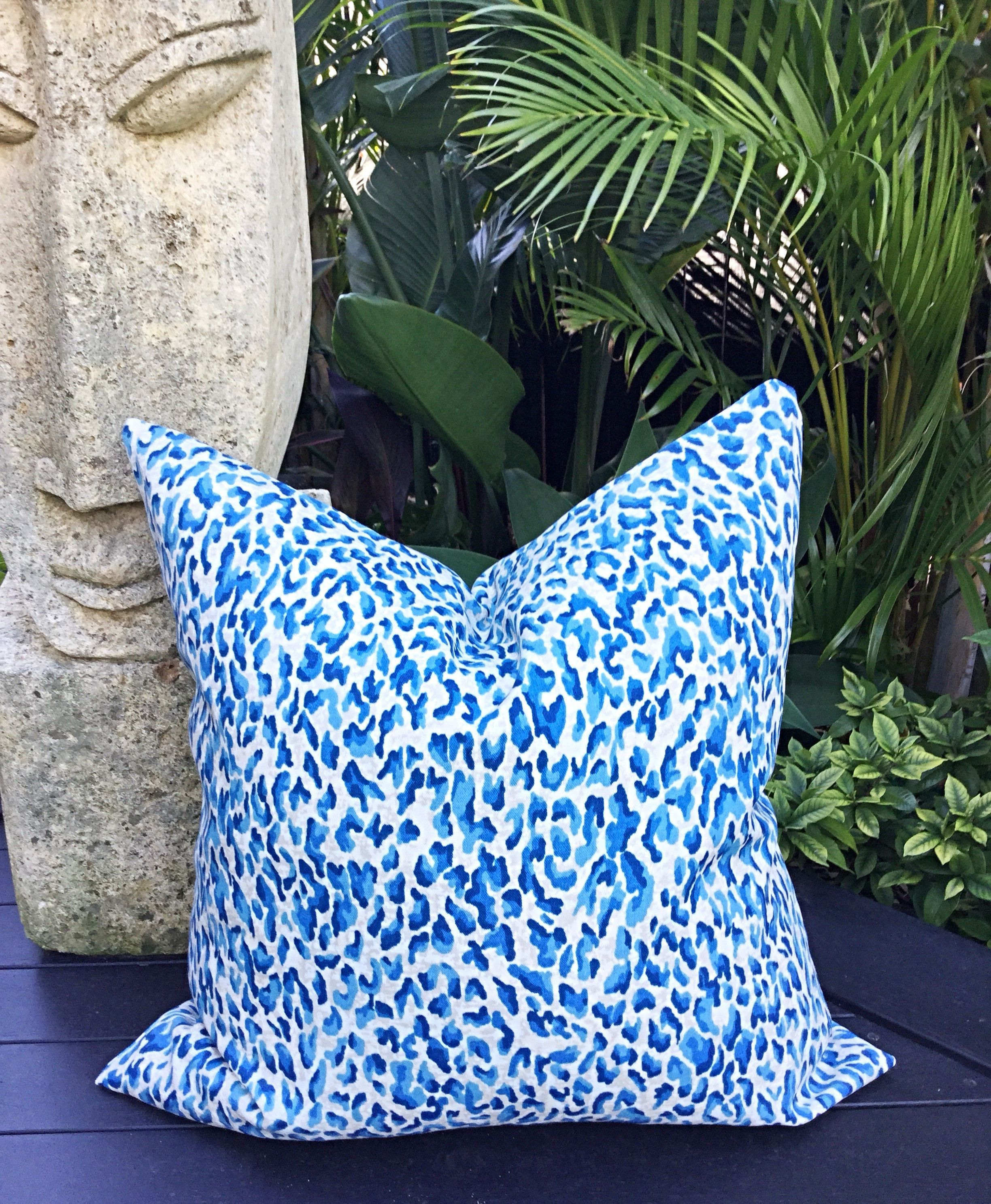 Leopard Print Outdoor Cushions Outdoor Pillows Blue Grey Cushion