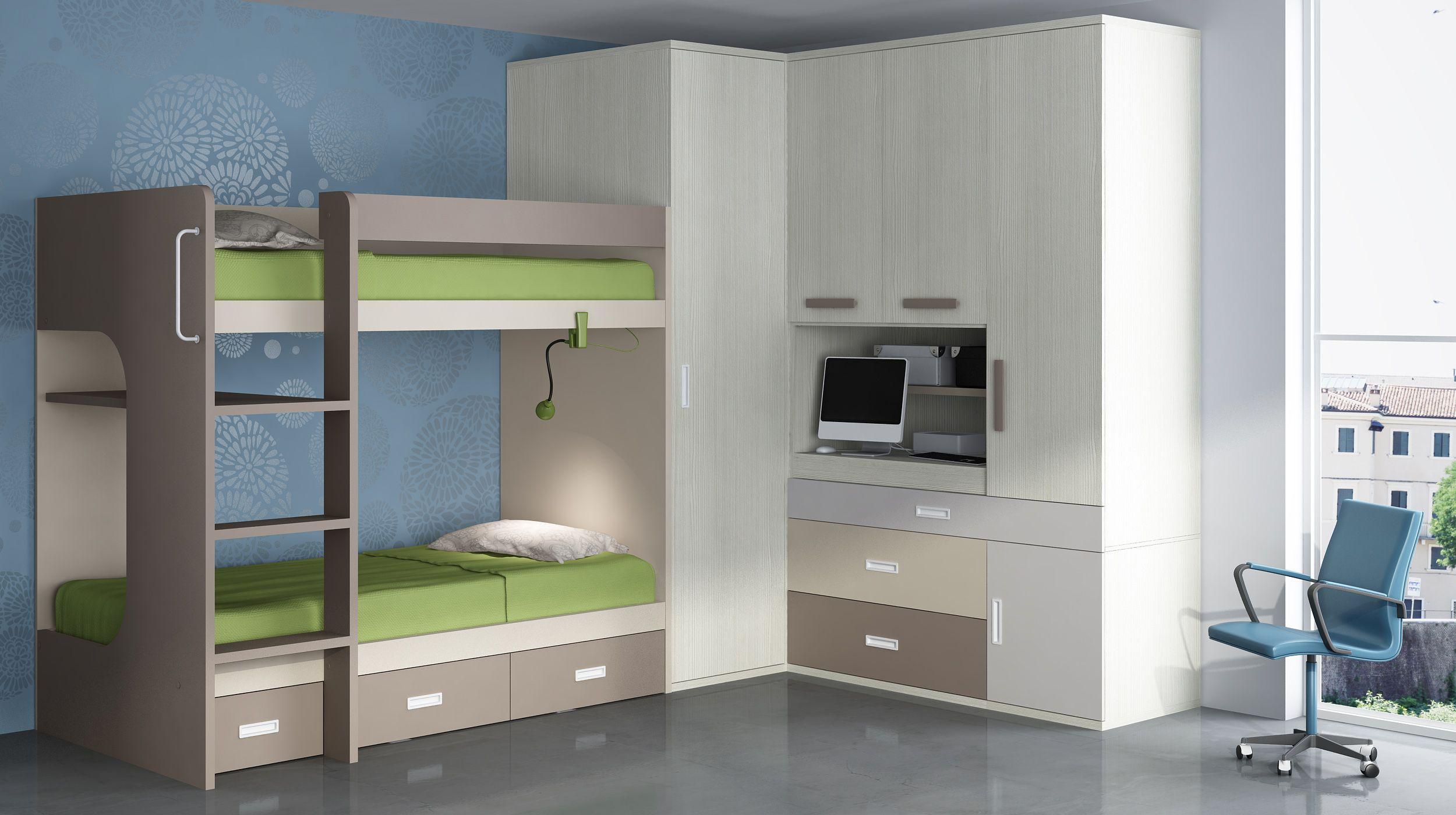 Juvenil con litera armario vestidor y armario play casa - Literas con armario ...