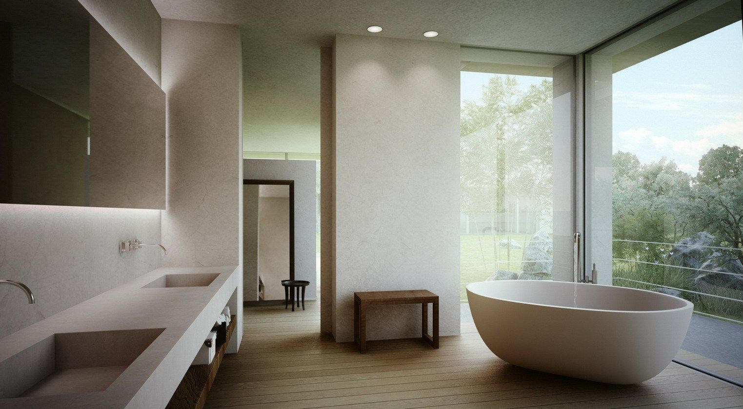 Master bathroom give serene natural bathing experience modern