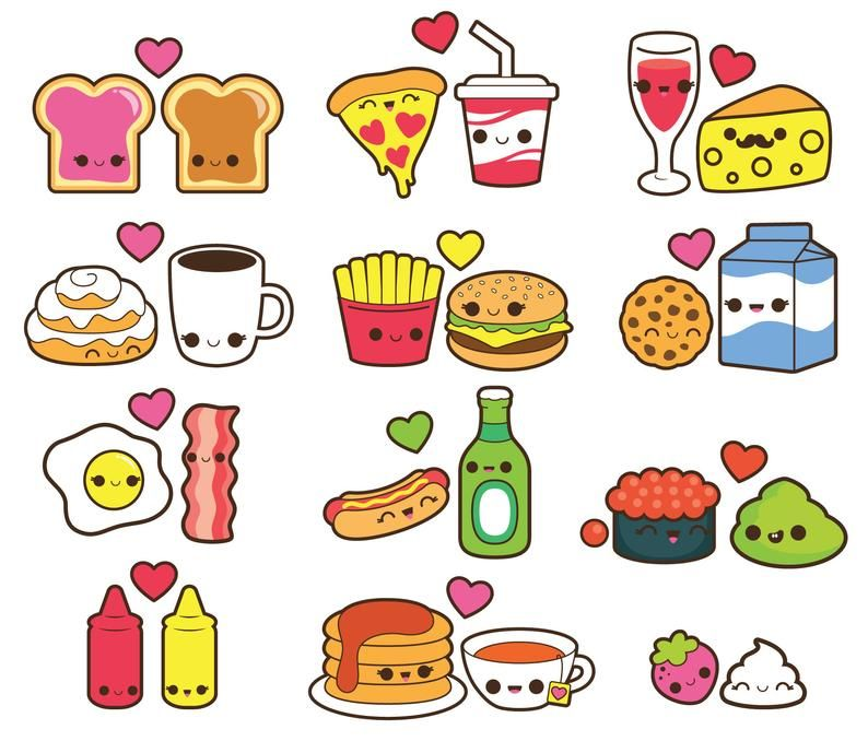 Valentine Clipart Kawaii Food Clipart Kawaii Valentines Day Etsy Kawaii Valentine Kawaii Drawings Cute Food Drawings