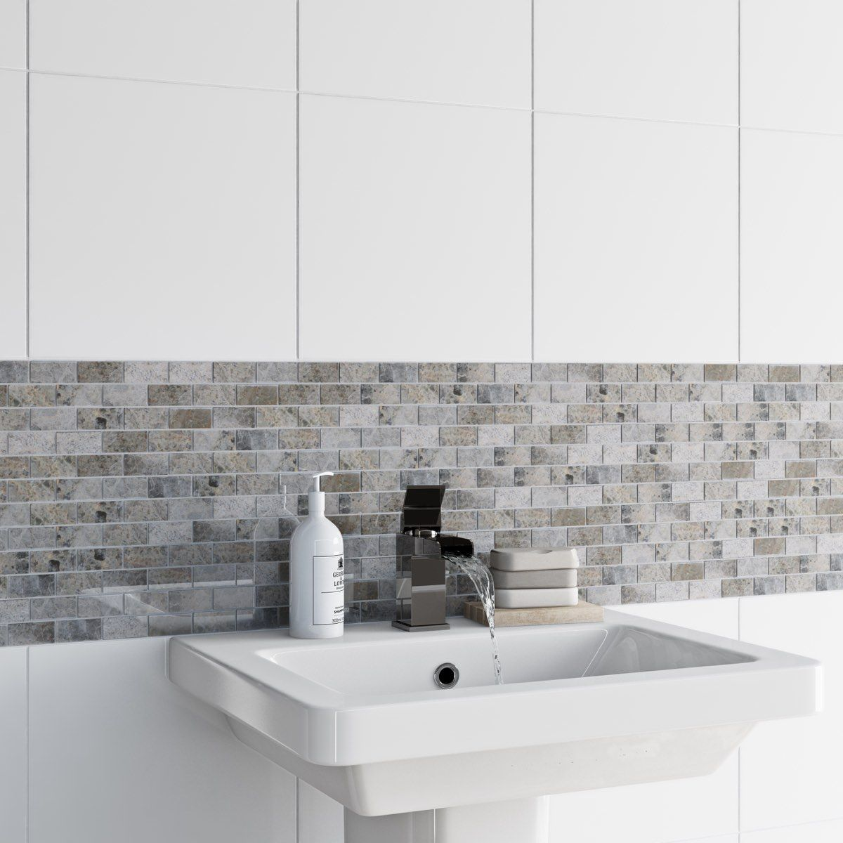British Ceramic Tile Mosaic stone beige gloss tile 300mm x 300mm - 1 ...