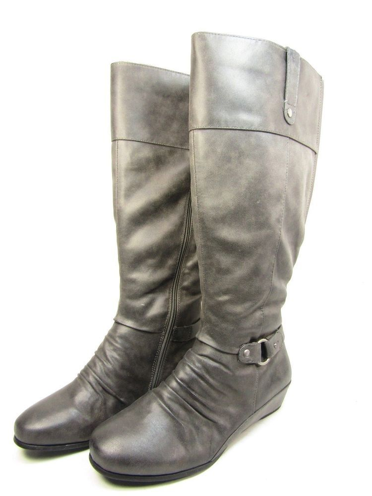 7483386563b0 Yuu Shela Wide Calf Winter Women s Boots Buckle Grey Size 11W  YUU   RidingBoots