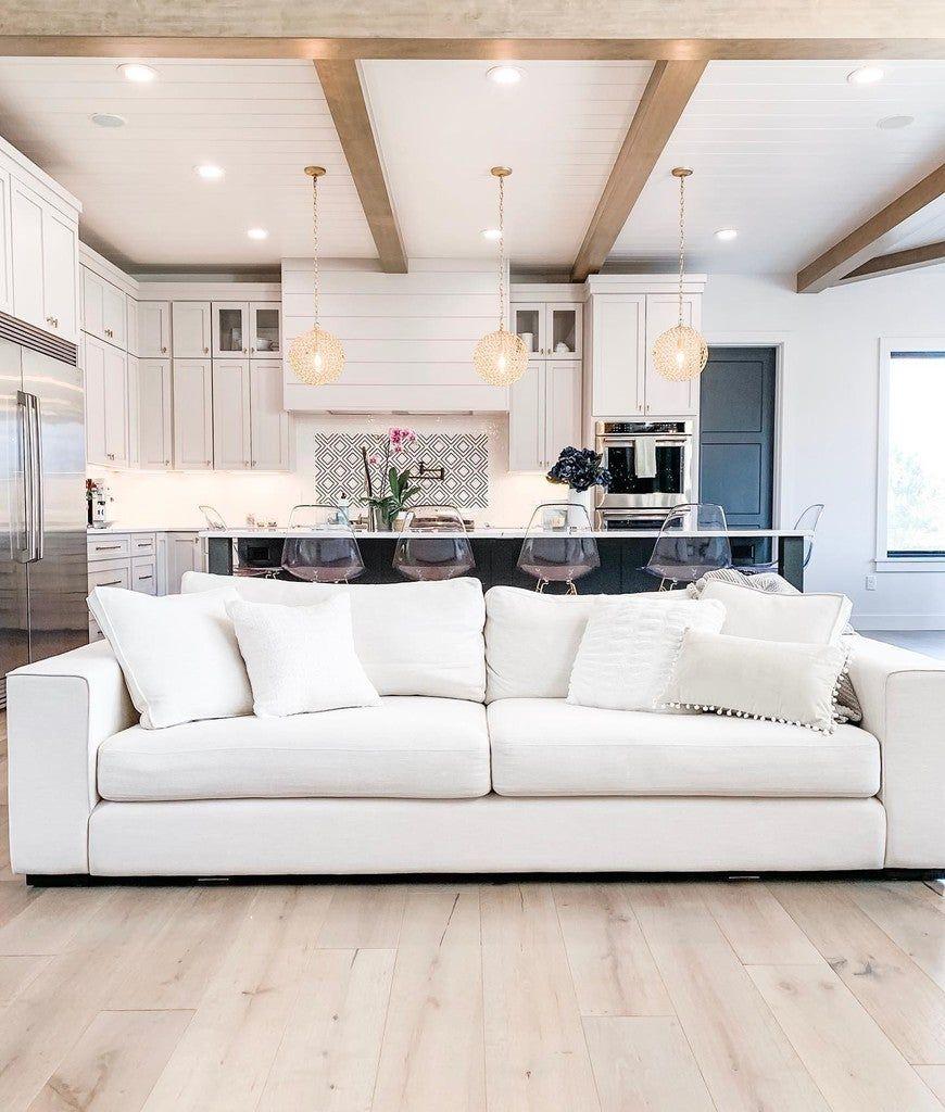 Sitka Quartz White Sofa In 2020 White Room Decor Open Kitchen Living Room White Sofas