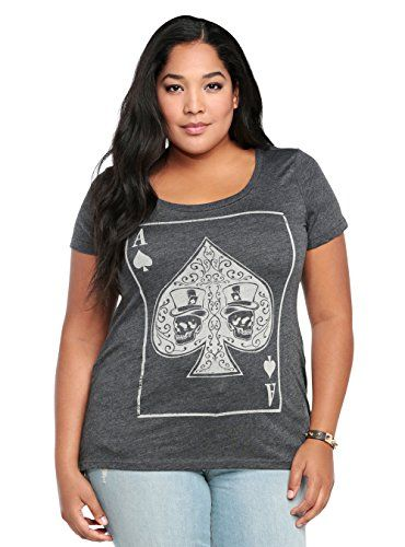 Women's Plus Size Skull T-Shirt Ace Of Spades