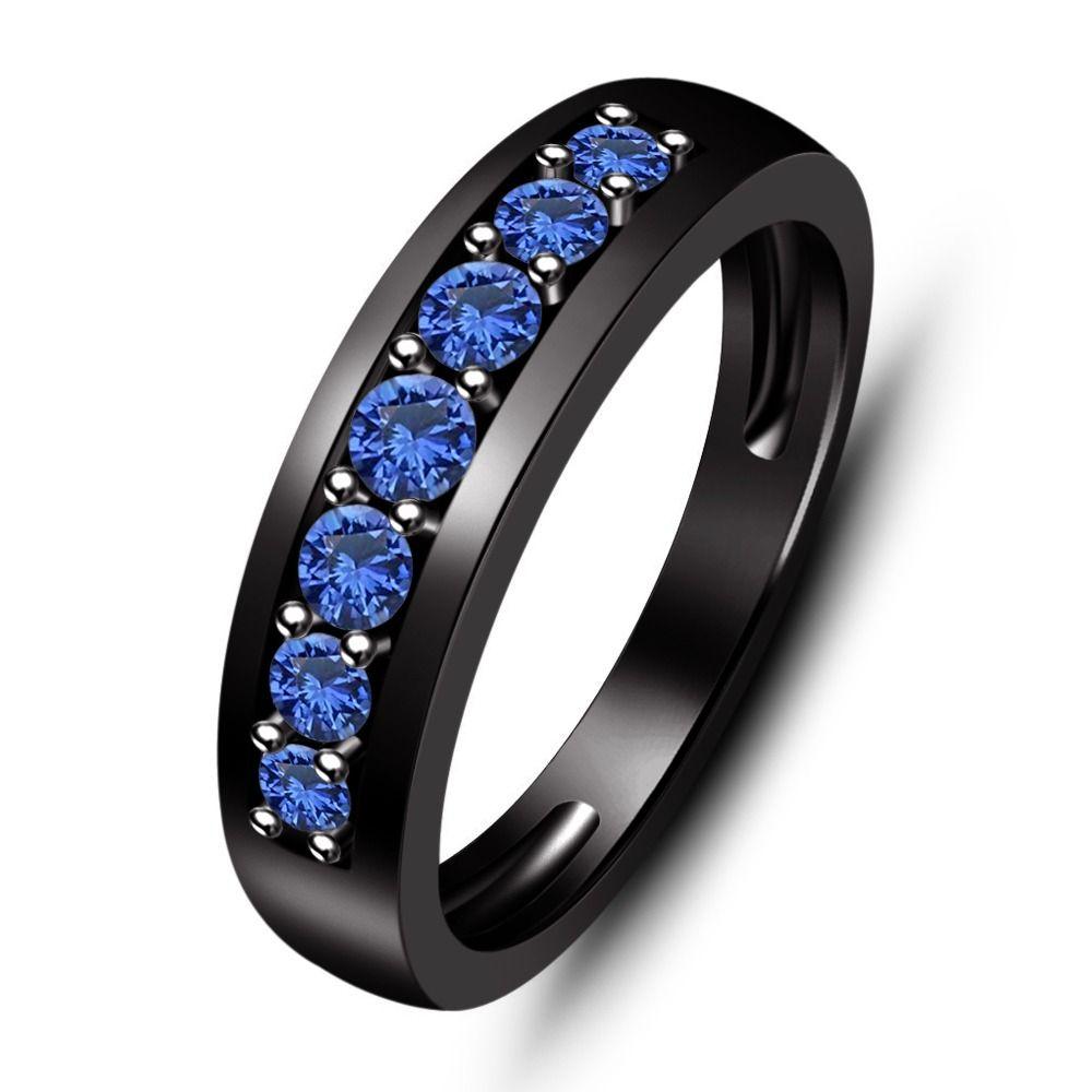 Black rhodium over 925 silver blue sapphire womens