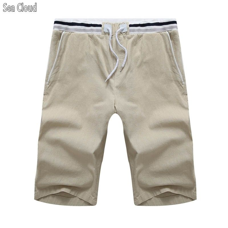 f2d60c6d3afc7 Sea Cloud Free shipping mens summer shorts plus size 10xl casual Linen male  elastic Drawstring man