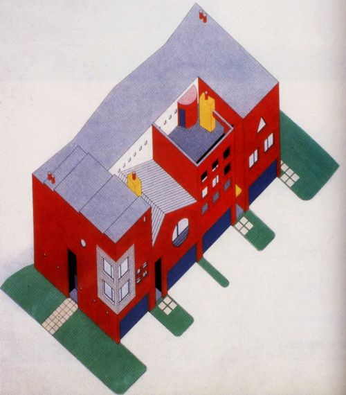 Arquitectonica, Mandell Residences, Houston, Texas, 1984-1985 #architecture #drawing Pinned by www.modlar.com