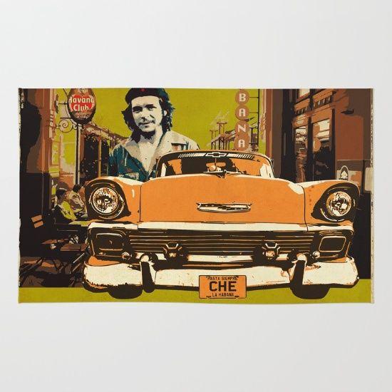 Retro Design With Car And Che Guevara