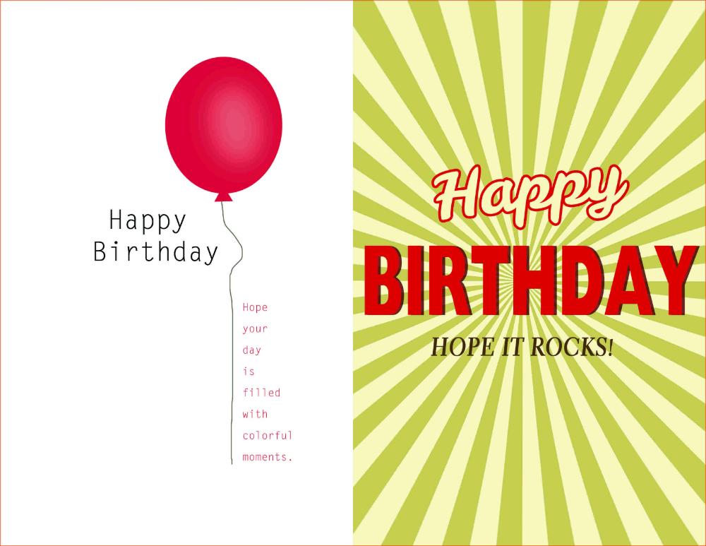 Birthday Card Template Word Document Blank Microsoft Text