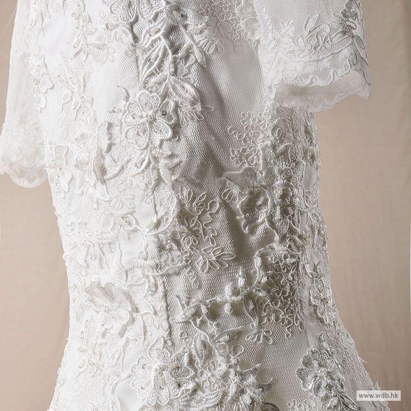 yellow wedding Sweetheart lace mermaid wedding dress with long sleeve jacket $448.78